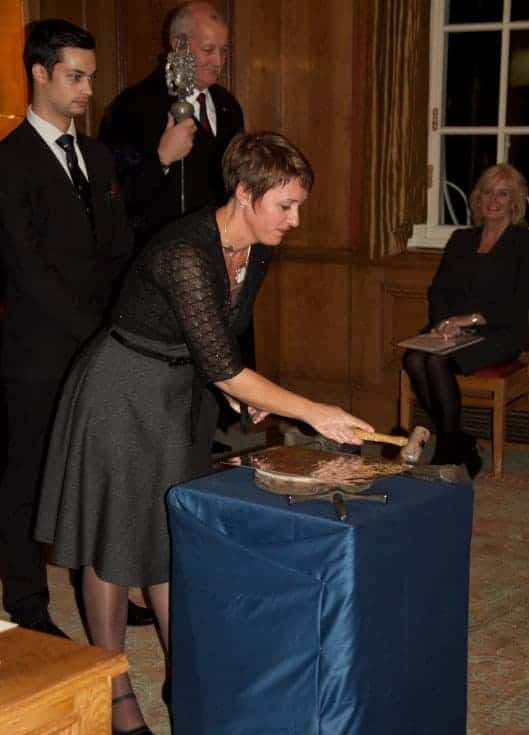 Fleur at the Worshipful company of pewterers striking her mark, name stamp at a touchmark ceremony