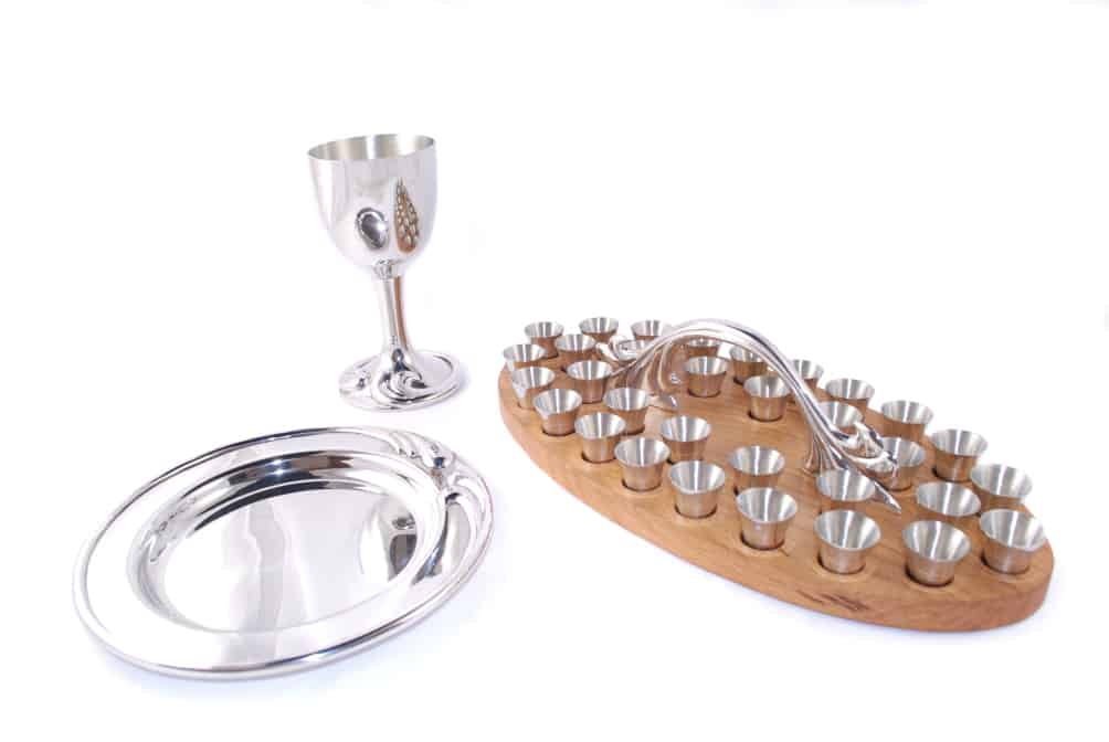 Carey Baptist Church Communion Set Pewter and Oak tray and boxes.