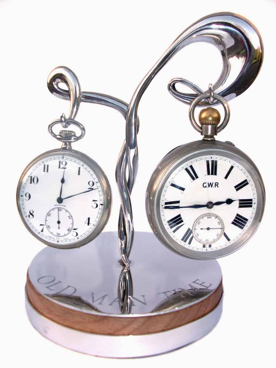 A pewter and oak pocket watch stand