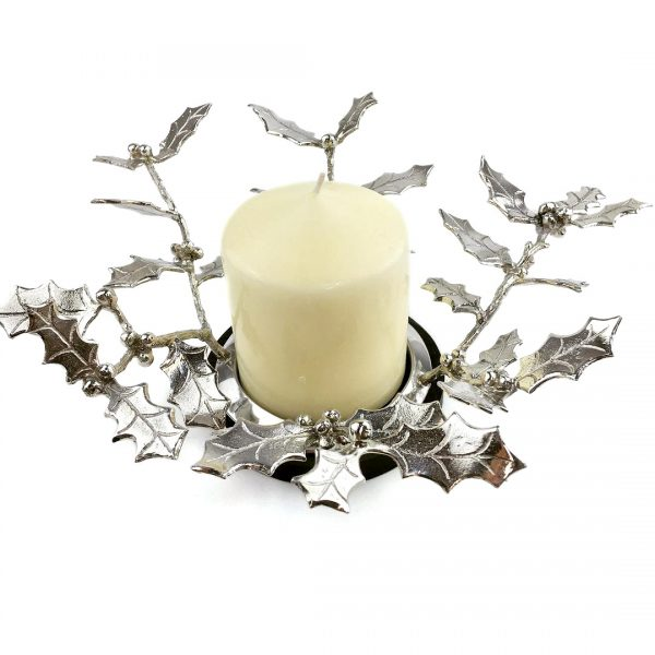 Holly centre candle holder