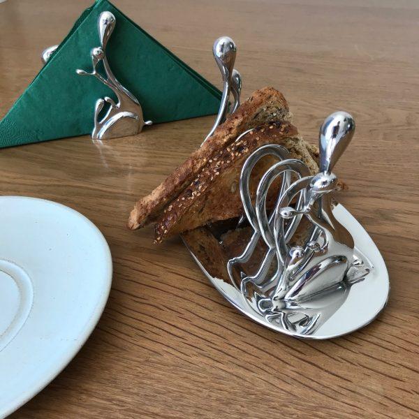 Pewter toast rack with toast