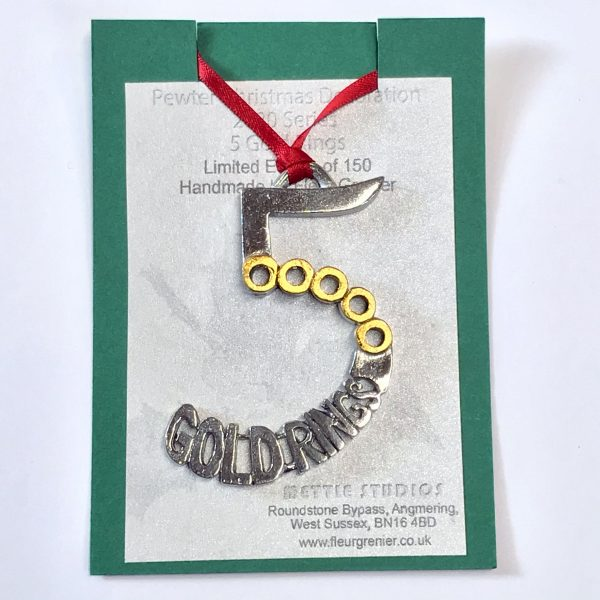 ltd edition 5 gold rings Christmas decoration on presentation card